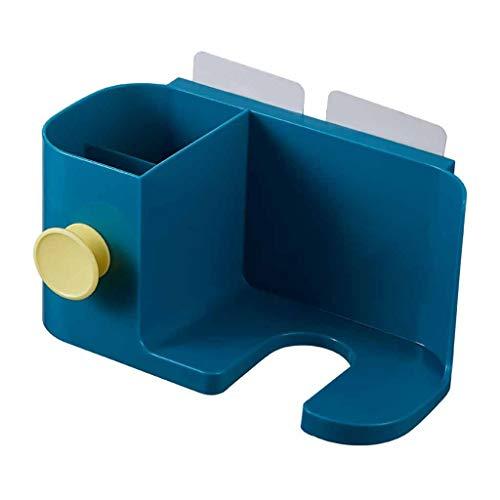 SU&YU Hair Dryer Shelf Bathroom Hair Dryer Holder Toothbrush Rack Wall Mounted Drier Storage Comb Shift Blue