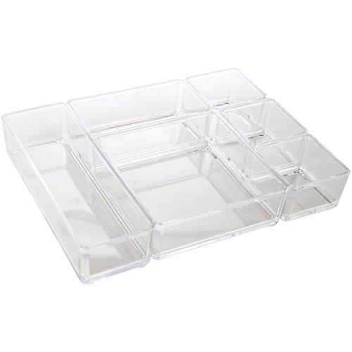 ARAD Clear Acrylic Office Tool Craft Organizer Set Desk Drawer Organizer 6 Pieces