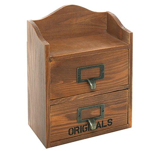 Desktop Brown Wood Storage Dual Drawer Unit 10x7 Inch Office Supply Craft Organizer Brown MyGift