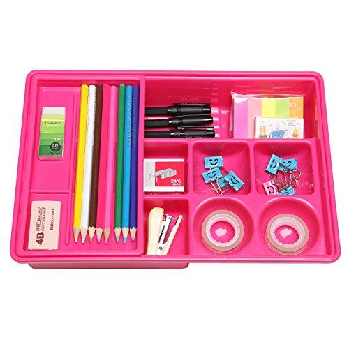 Hot Pink Multi Compartment Office Desk Drawer Plastic School Supply Organizer Caddy Tray w Sliding Shelf