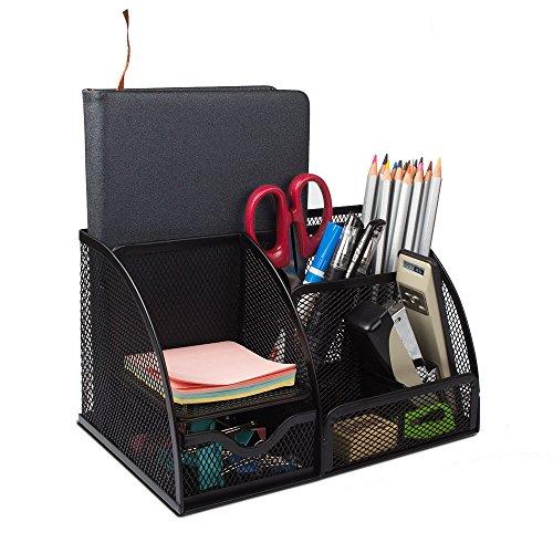 Mesh Office Desk Organizer STARVAST Pen Pencil Holder Accessories Caddy with 6 CompartmentsDrawer for Office School Home Classroom Desktop Supplies Organizer