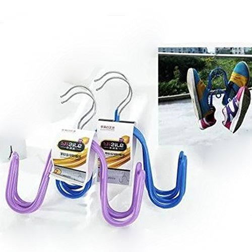 Liumltao 3 Pack Durable Stainless Steel Heavy-duty Drying Rack Hanger Airer Hanging Shoe Rack HangerShoe Drying RackCreative Shoes Hanging Sun Scarf Hook Sock RackRandom Color