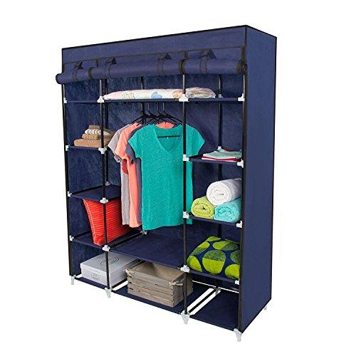 "53"" Portable Closet Storage Organizer Wardrobe Clothes Rack with Shelves Blue"