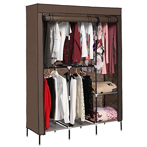 Eshion 68 Clothes Closet Portable Wardrobe Storage Organizer with Shelves Coffee