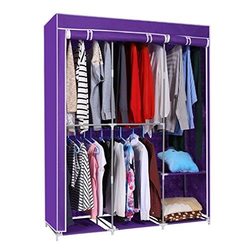 Home Portable DIY Closet Wardrobe Clothes Rack Non-woven Fabric Storage Organizer Dark Purple