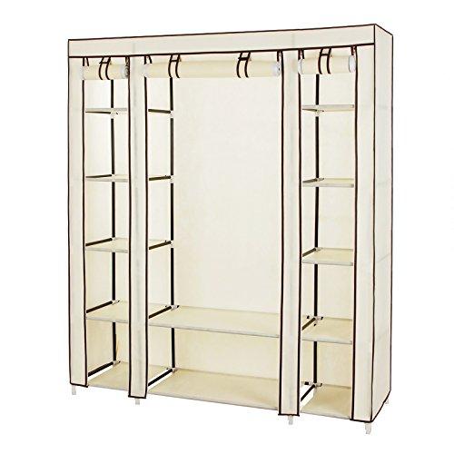 SONGMICS 59 Portable Clothes Closet Wardrobe Non-woven Fabric Storage Organizer with Shelves Beige ULSF03M