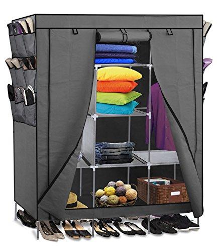 Smart-Home 69 Portable Closet Storage Organizer Clothes Wardrobe With Shoes Rack Shelves Grey 69 L x 51 W x 175 D