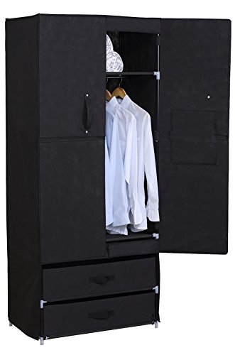 Woltu ACSC1004blk-a Portable Closet Storage Organizer Wardrobe Black 2 Customizable Drawers with Sturdy Rust-Proof Steel Round Tube Frame-Dust and Water Proof Fabric Cover
