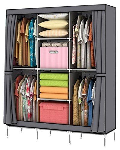 YOUUD Portable Clothes Closet Wardrobe Non-woven Fabric Storage Organizer with Shelves Gray