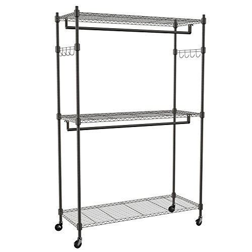 Lantusi 3-Tier Rolling Closet Garment Rack with Double Rod Lockable Wheels and Side Hooks - Heavy Duty Clothes Rack Closet Storage Organizer US STOCK