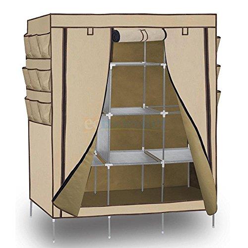 69 Portable Closet Storage Organizer Clothes Wardrobe Shoe Rack with Shelves Beige