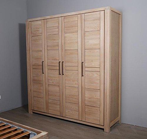 Solid Wood Four Door Wardrobe Storage Cabinet Clothes Rack Organizer Bedroom CombinationELMModern StyleNatural color