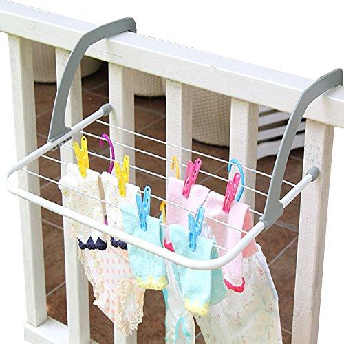AB Crew Indoor Outdoor Folding Clothes Door drying Rack Laundry Hanger Dryer Towel Holder Storage Rack Clotheshorse for Balconies Parapets Window Bathroom Accessories