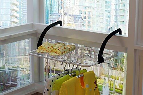"Homebi IndoorOutdoor Balcony Foldable Metal Towel Shelf Clothes Storage Drying Rack Laundry Hanger Dryer over Balcony Window or Bathroom 2008""W x 1358"" D x 709""H"