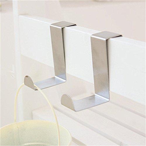2 Stainless Over Door Hooks Kitchen Cabinet Draw Towel Clothes Holder Hanger Cabinet Draw Clothes Hanger Holder Bathroom Parts