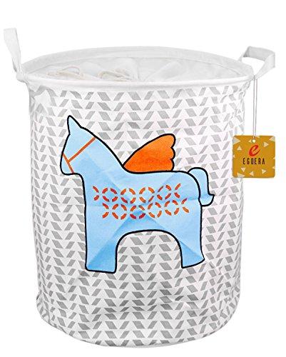 EgoEra Premium Cartoon Foldable Cotton Line Laundry Basket Folding Children Toys Organiser Storage Basket Tidy Clothes Holder with Lids Blue Horse