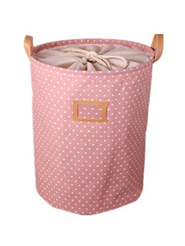 Moolecole Cartoon Foldable Cotton Line Laundry Basket Folding Children Toys Storage Basket Tidy Clothes Holder Pink Polka Dots