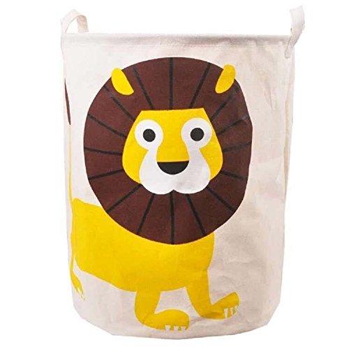 XIANIWTA Large Cartoon Foldable Cotton Linen Laundry Hamper with Handles Laundry Basket Toys Organiser Clothes Holder Lion