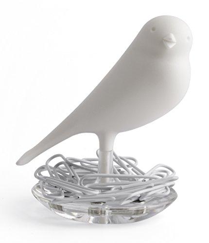 Qualy Nest Sparrow Paper Clip Holder - White