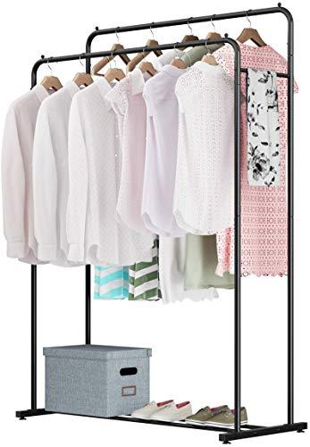 Rackaphile Clothes Rack Clothes Organizer Adjustable Double Rails Heavy Duty Garment Rack for Balcony and Bedroom Black