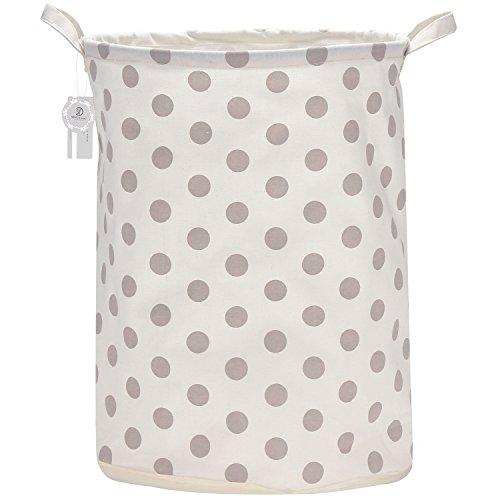 Sea Team 197 Large Sized Waterproof Coating Ramie Cotton Fabric Folding Laundry Hamper Bucket Cylindric Burlap Canvas Storage Basket with Stylish Grey Polka Dot Design