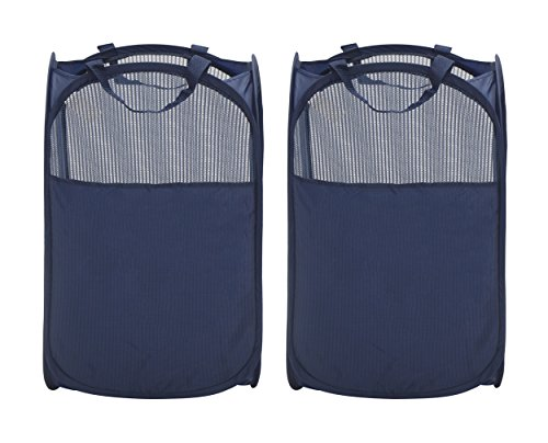 StorageManiac Foldable Pop-Up Mesh Hamper Laundry Hamper with Reinforced Carry Handles Pack of 2