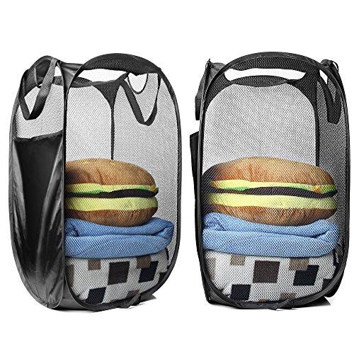 Foldable Mesh Pop-Up Laundry Hamper with Side PocketLaundry Basket Bag with Reinforced Carry Handles Pack of 2--Black