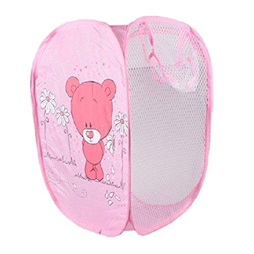 Laundry Basket Windspeed Pink Bear Mesh Pop-Up Laundry Hamper Foldable Laundry Basket Bag Case or Toy Chest for Storage