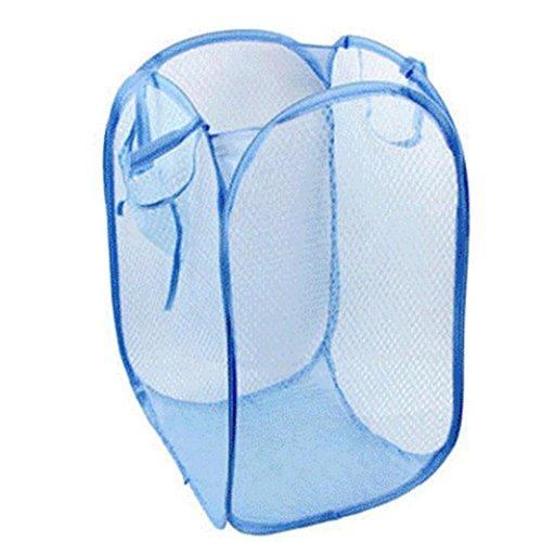 Malloom Nylon Mesh Foldable Laundry Basket Household Dirty Clothes Bag Washing Child Toy Storage Organization Light Blue