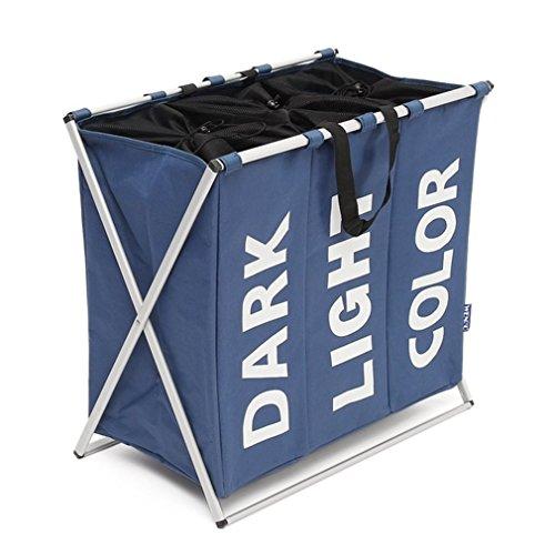 XMCOWAYOU 3 Section Laundry Basket Bag Foldable Laundry Hamper With Alloy Frame Blue