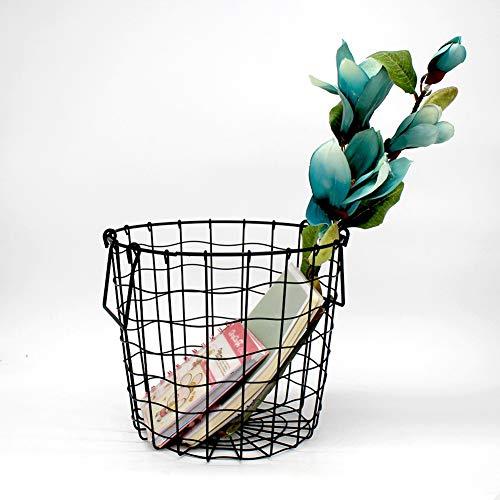 Alician Black Laundry Basket Nordic Style Iron Art Storage Basket with Handle Desktop Organizer