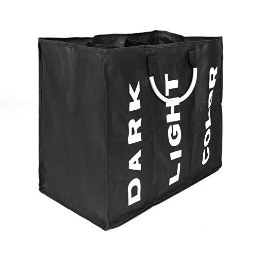 Ksruee Portable Dirty Clothes Basket Three Lattice Large Capacity Laundry Basket Black