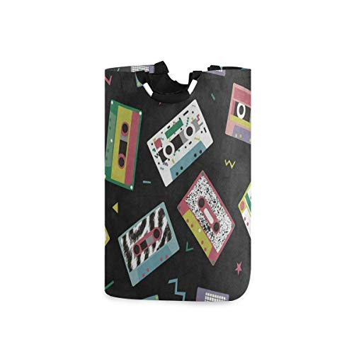 Laundry Basket Audio Tapes in Retro 80S Style Music Black Large Collapsible Dirty Laundry Hamper Bag Tall Fabric Storage Baskets Folding Washing Bin Hand Clothes Organizer for Laundry RoomDorm 53L