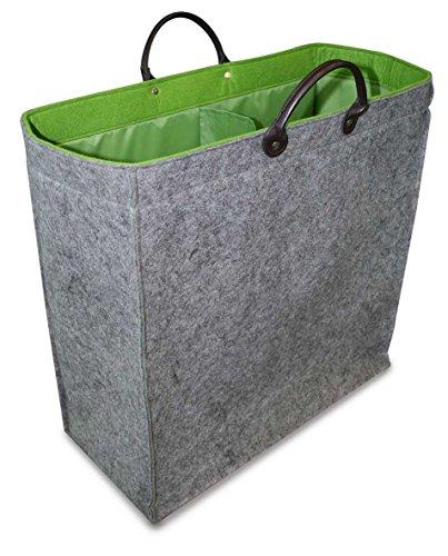 Green Gray Double Felt Laundry Hamper