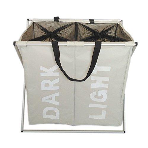 XMCOWAYOU Double Laundry Basket Bag Foldable Laundry Hamper With Alloy Frame