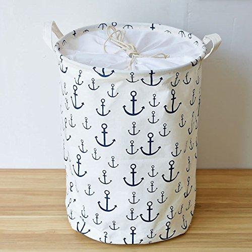 Addfun Premium Fabric Foldable Round Laundry Basket Children Toys Storage Organizer with Lids 3545cmWhite Anchors