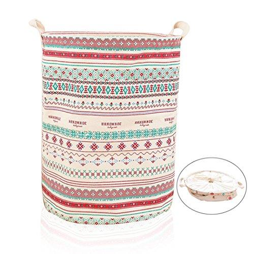 AddfunPremium Fabric Foldable Round Laundry Basket Children Toys Storage Holder with Lids 35x44cm Bohemia Pattern