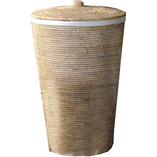 DWBA Malacca Single Hamper Laundry Basket with Lid 15 X 25 inch - Rattan Light Rattan