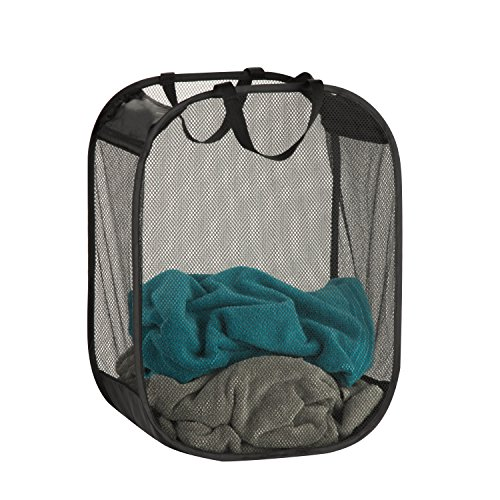 Honey-Can-Do Mesh Laundry Basket 18 Length x 11 Width x 24 Height Black