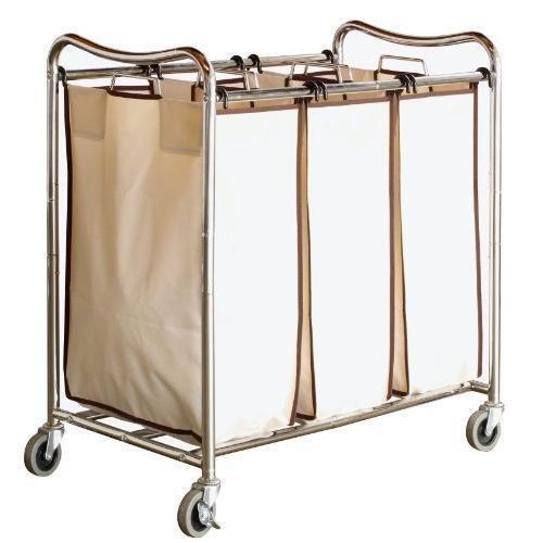 Decobros Heavy-duty 3-bag Laundry Sorter Cart Chrome New