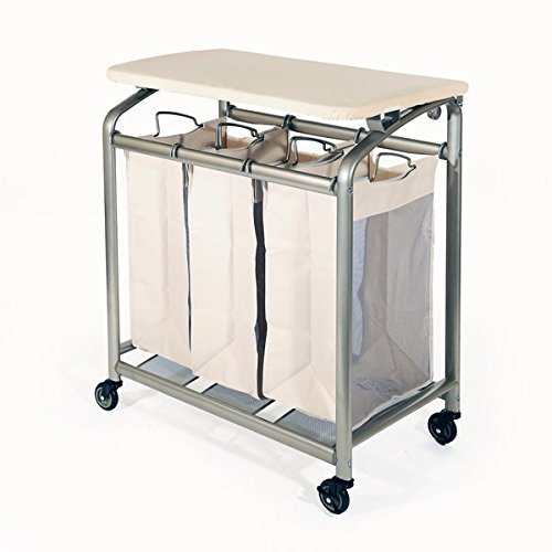 Powder Coated Steel Frame 3 Bag Laundry Sorter with Folding Table 100 Cotton Padded Cover Off-White