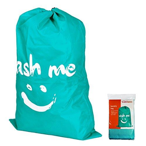 IHOMAGIC Laundry Bag Drawstring with Traveling Jumbo Size Foldable Laundry Bag Nylon Bag Strap 24 by 36 inches Blue-smile