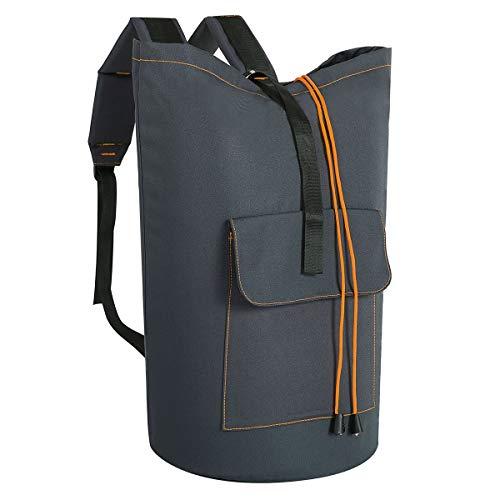 V-Shine Extra Large Backpack Laundry Hamper Backpack Collapsible Laundry Bag for College Apartment Dorm Hanging Laundry Hamper Bags with Adjustable Shoulder Straps Dark Grey