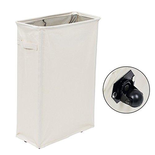 AZDENT Foldable Laundry Hamper Slim Rectangular Laundry Basket with Wheels for Clothes Washing