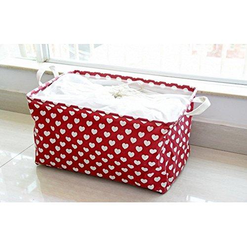 Fieans Foldable Rectangular Laundry Basket Hamper Storage Bag Waterproof Coating Ramie Cotton Fabric Laundry Hamper Storage Basket-Red