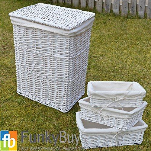 FunkyBuysLARGE White Rectangular Laundry Basket Laundry  Linen Basket With Extra Lining FREE  S3 Storage Baskets by FunkyBuys