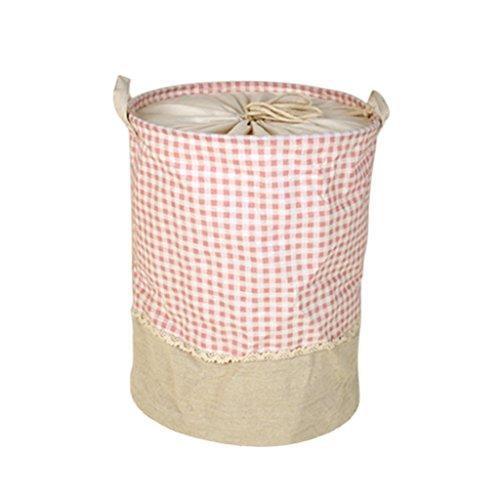 Jili Online Round Cotton and Linen Laundry Storage Bag Basket Box Flower Printing Home Decor - Pink Plaid