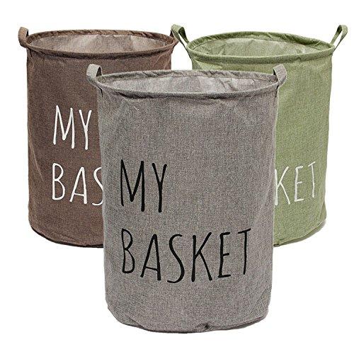 C&C Products Cotton Linen Fabric Foldable Laundry Washing Hamper Bag Clothe Basket Storage Bin