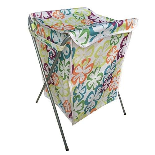 Enerhu Laundry Basket Clothes Toy Tidy Storage Bag Foldable Washing Hamper Green Flower