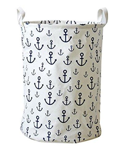 Moolecole Cotton Linen Fabric Foldable Laundry Washing Hamper Bag Clothe Basket Storage Bin White